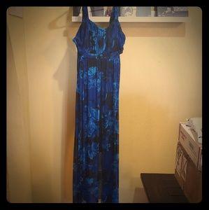 Cobalt blue & black floral maxi dress
